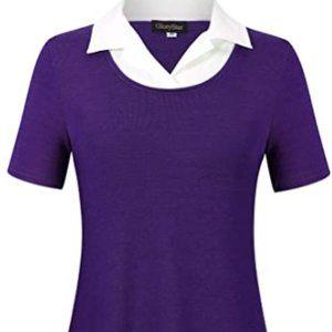 Tops - Women's long sleeve color blocking shirt